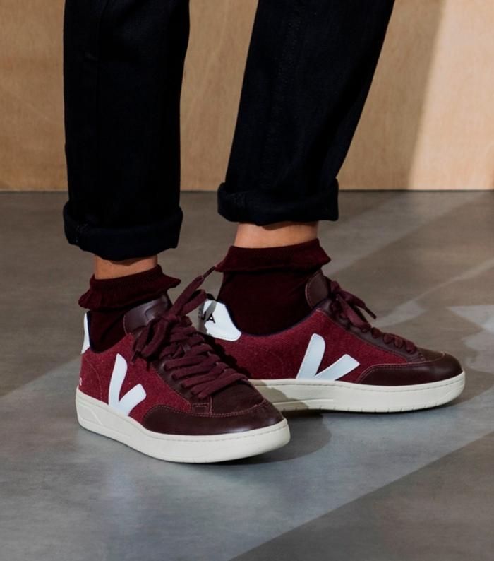 Veja - Man V-12 Burgundy White Sneakers
