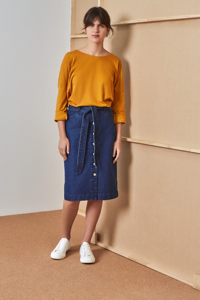 Kowtow - Building Block Relaxed Long Sleeve Top, Amber