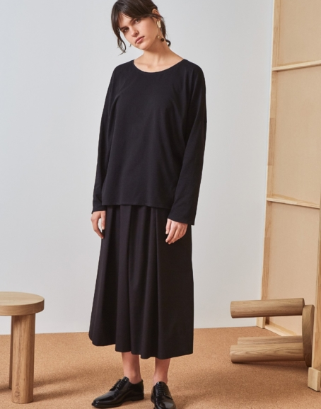 Kowtow - Building Block Relaxed Long Sleeve Top, Black