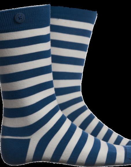 Qnoop - Strumpor, Plain Stripe Sea Blue White