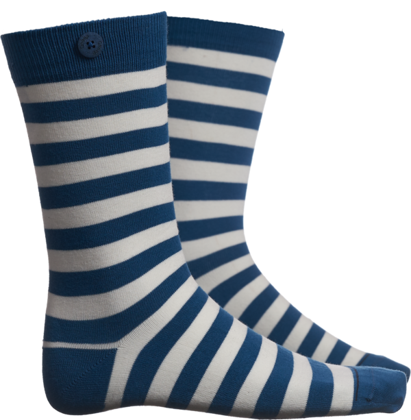 Qnoop - Strumpor, Plain Stripe Sea Blue White