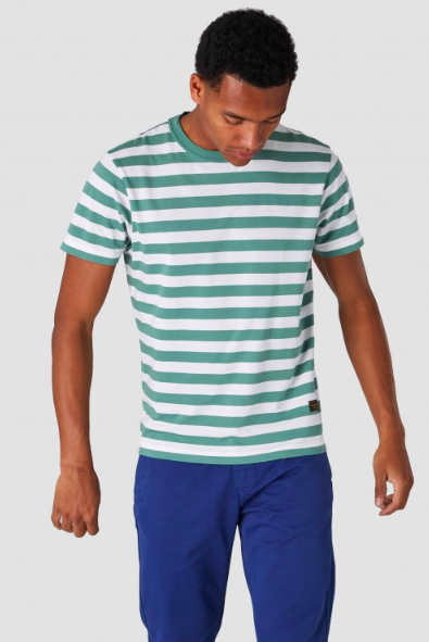 Kings of Indigo - Darius T-Shirt, Pear Green Stripe