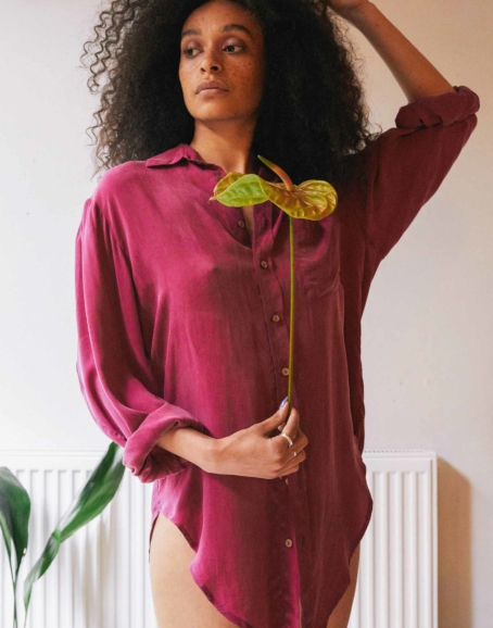 Cossac - Oversized Tie Shirt, Bold Cassis