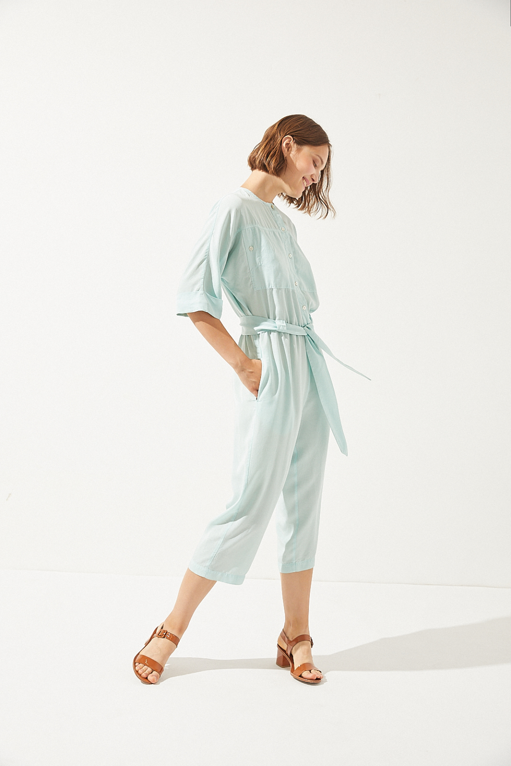 CUS - Flamingo Tencel Jumpsuit, Aqua