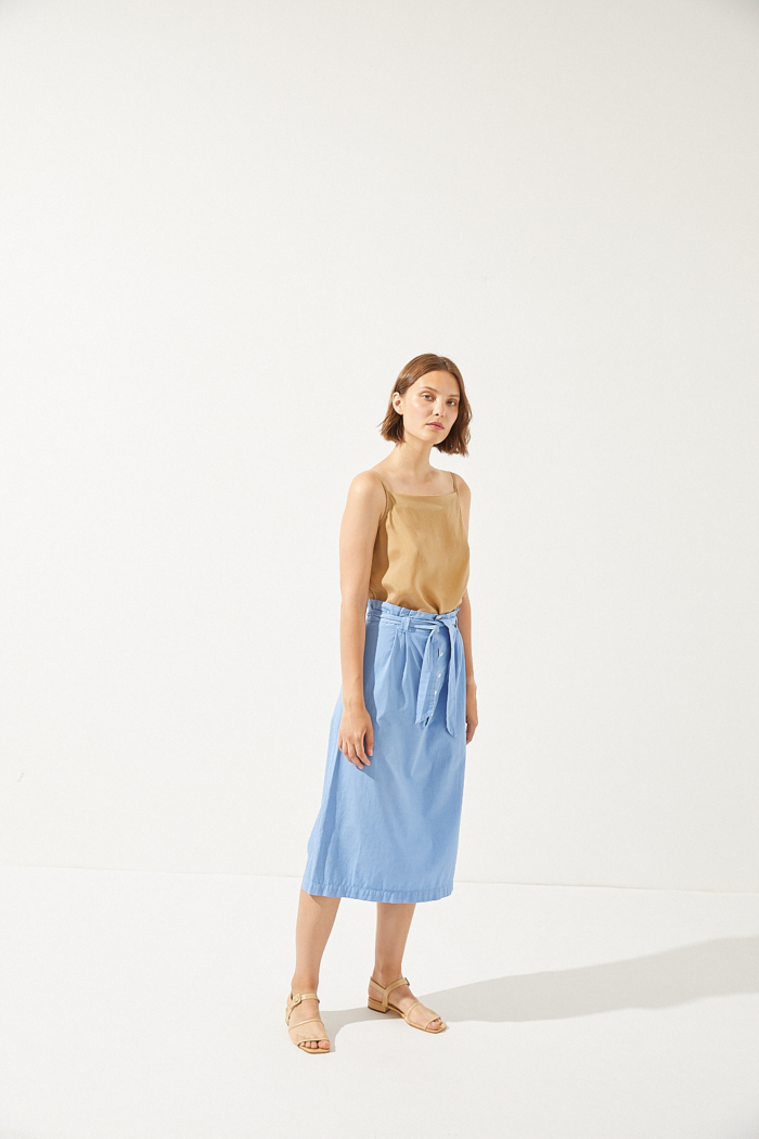 CUS - Thais Poplin Skirt, Splash Blue