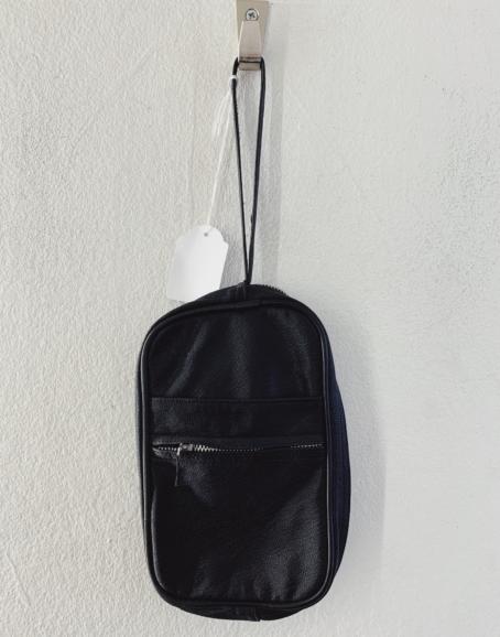 Ecosphere Vintage - Black Leather Wrist Bag