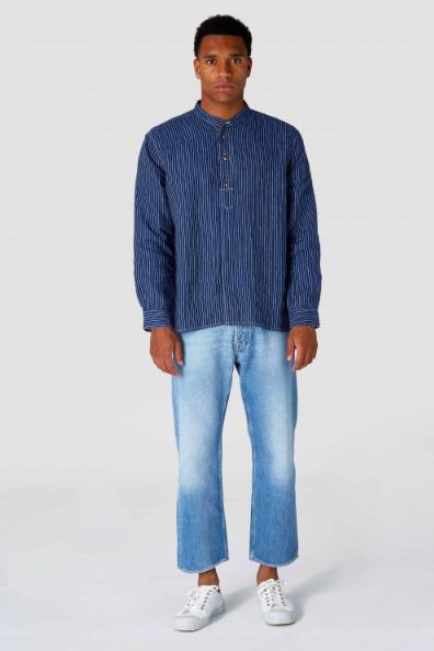 Kings of Indigo - Andrew Shirt, Blue Linen Stripe