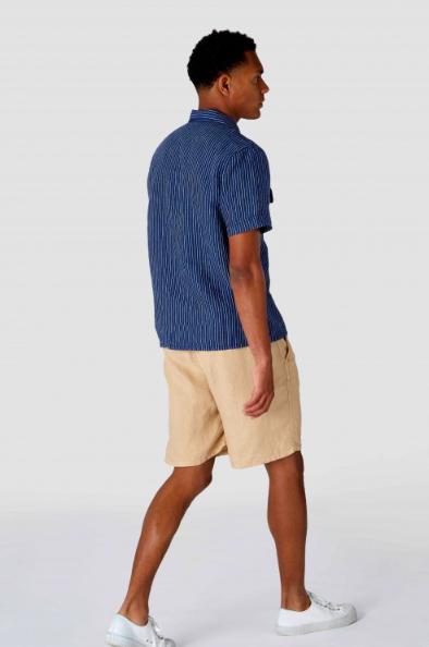 Kings of Indigo - Balder Short Sleeved Shirt, Stripe Linen Indigo