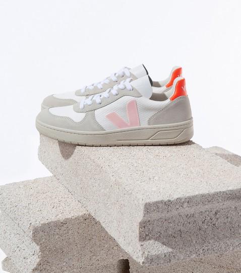 Veja - V10 B-Mesh Sneaker, White Petale Orange Flou