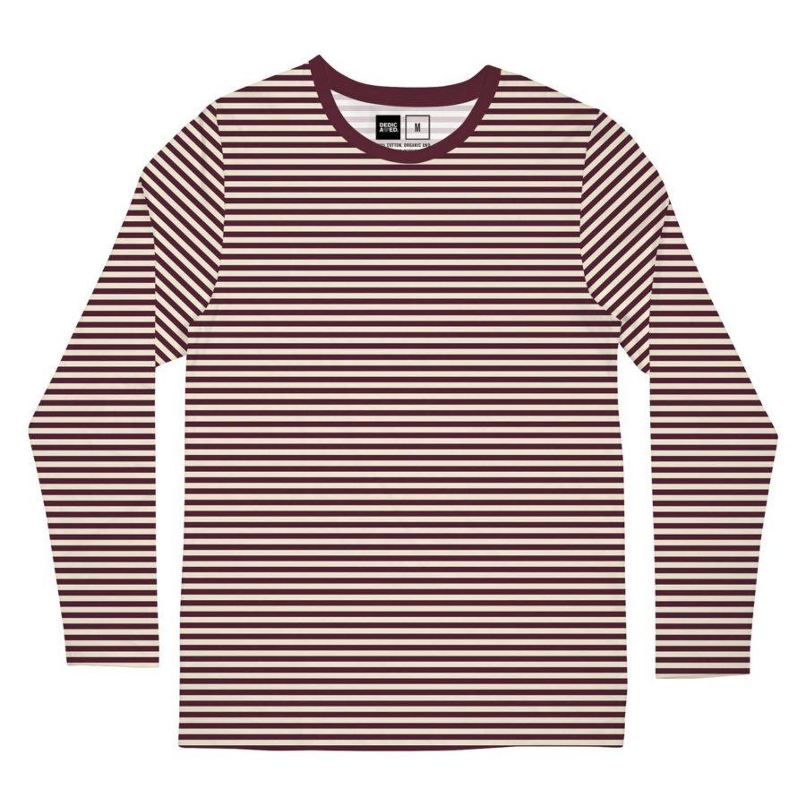 Dedicated - Long Sleeve T-Shirt, Burgundy Stripes