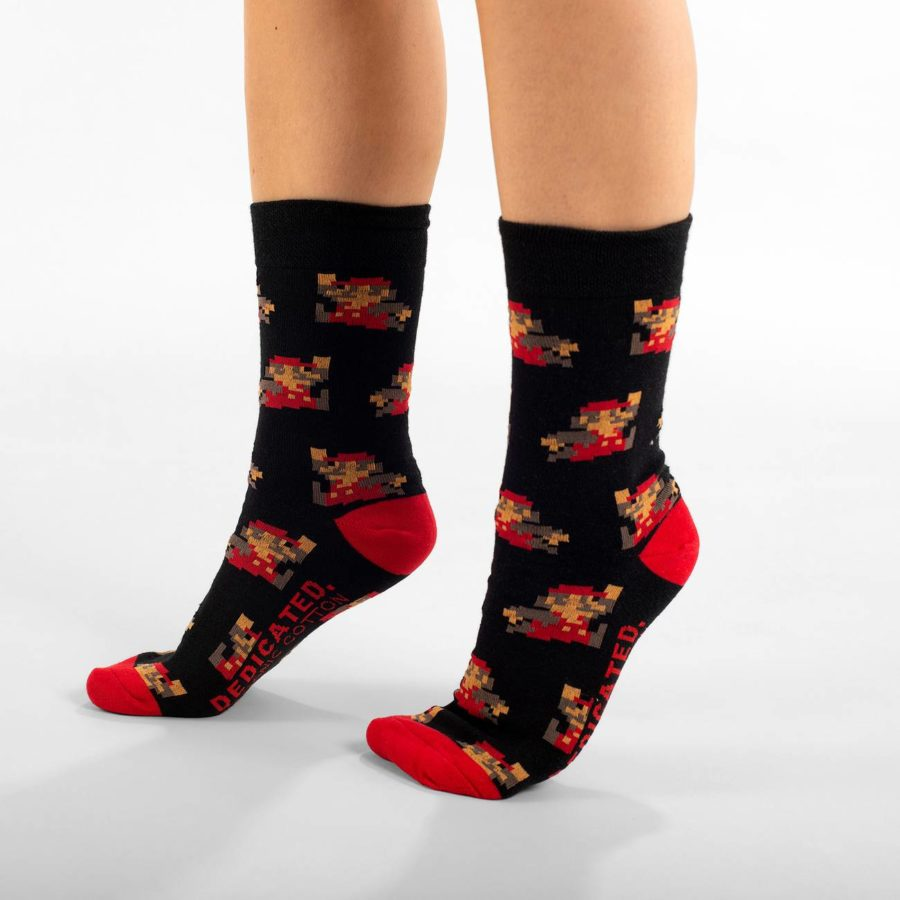 Dedicated - Super Mario Black Pattern Socks