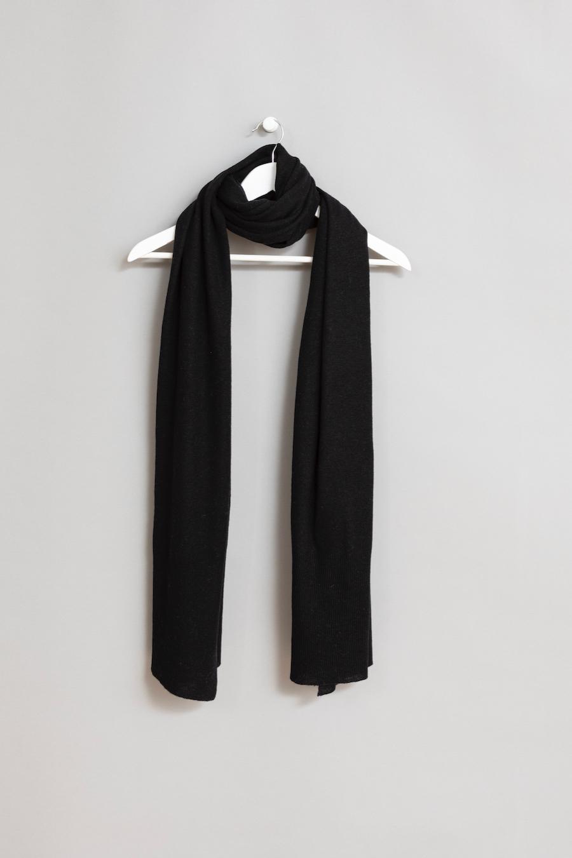 Dinadi - Merino Edge Rib Scarf, Black