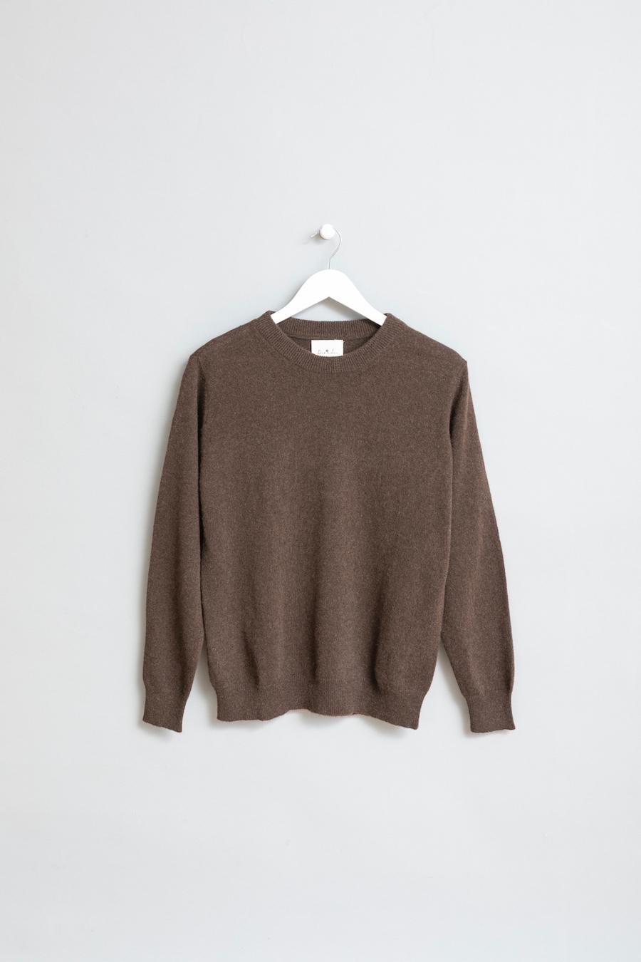 Dinadi - O-neck Sweater, Dark Brown