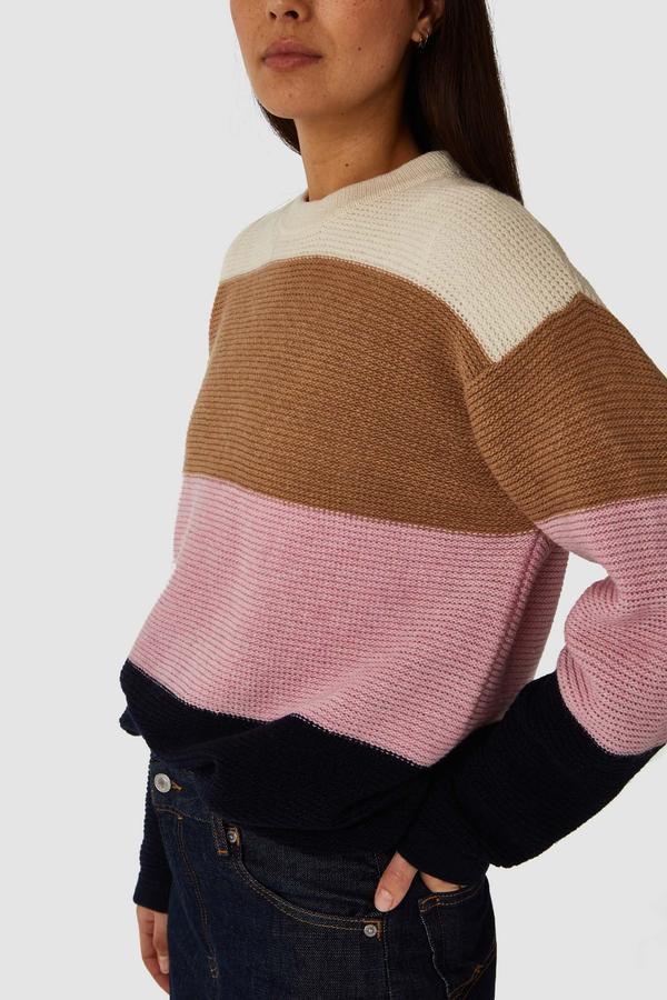 Kings of Indigo - May Knitted Sweater, Bold Stripe Pink