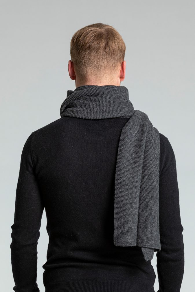 Dinadi - Merino Garter Scarf, Charcoal Grey