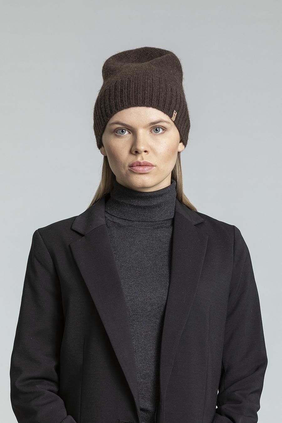Dinadi - YAK Fine Knit Hat, Dark Brown