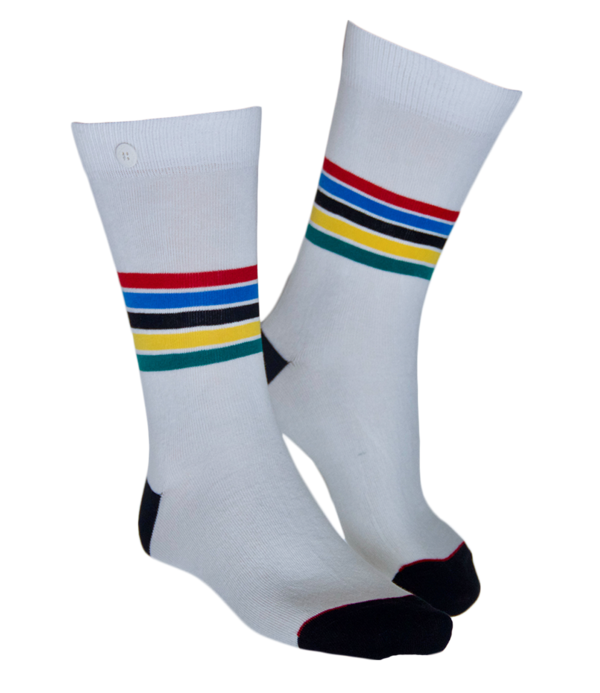 Qnoop - Socks, Tropical Stripe Off-White