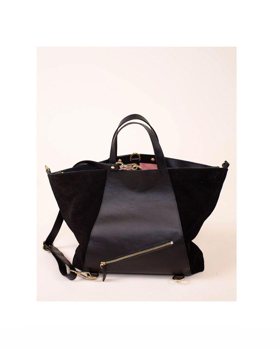 Bukvy - Midi Curie 3-i-1 väska, svart läder