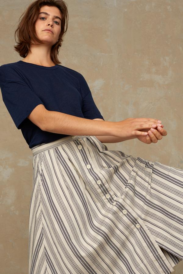 Kings of Indigo - Benten Skirt, Beige Stripe