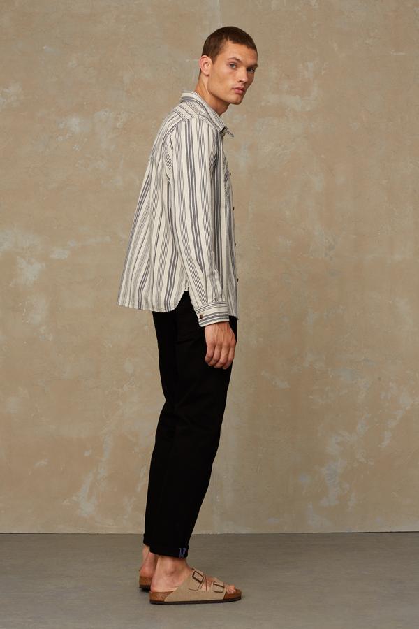 Kings of Indigo - Juntoku Beige Stripe Overshirt