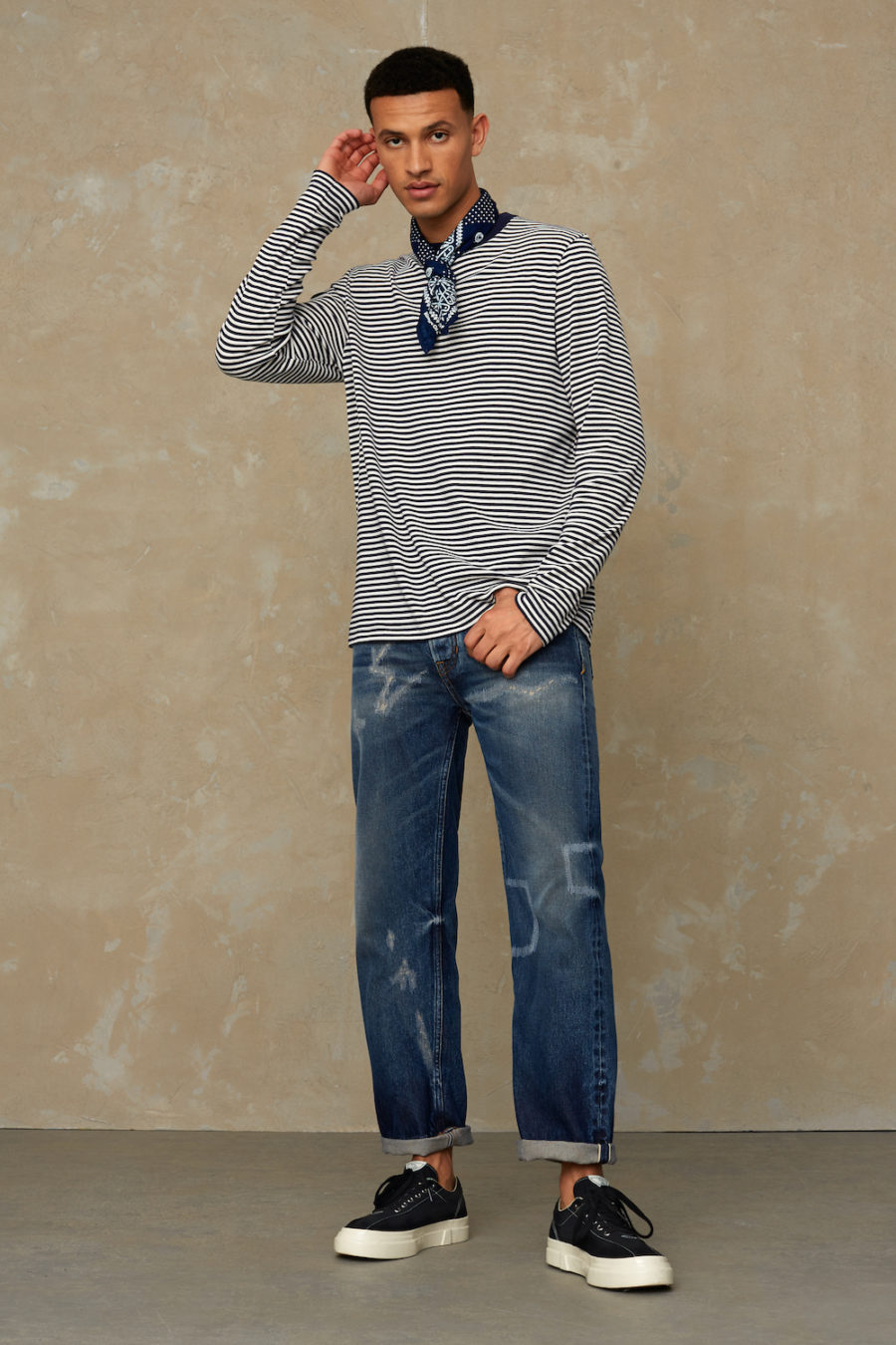 Kings of Indigo - Nezer Long Sleeve, Navy Stripe
