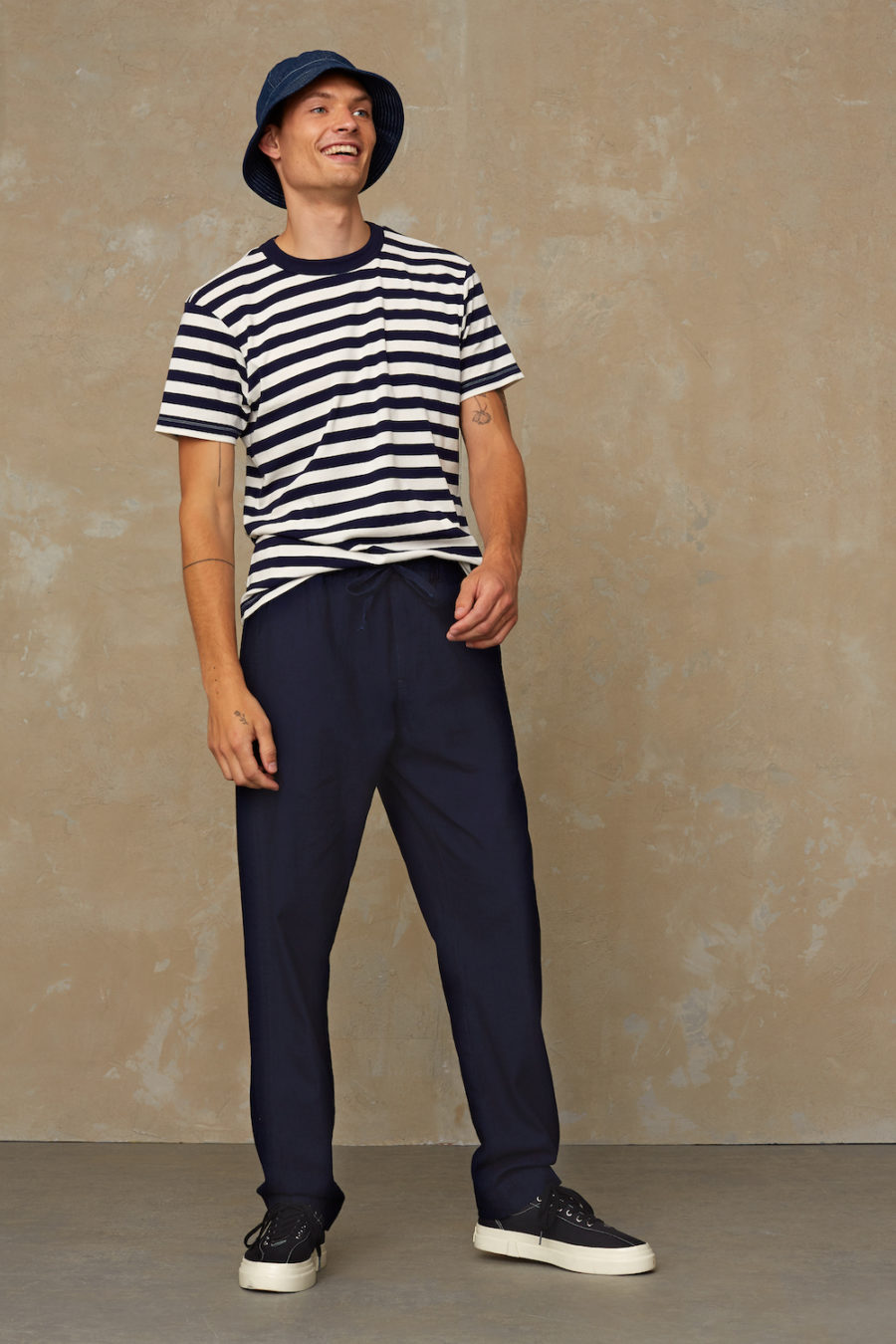 Kings of Indigo - Darius Tee, Navy Stripe
