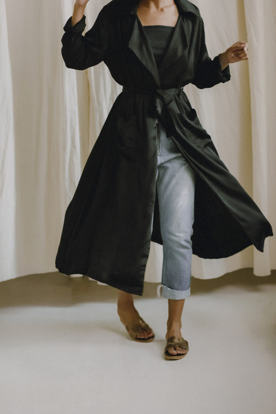 Cossac - Soft Trench Coat, Black