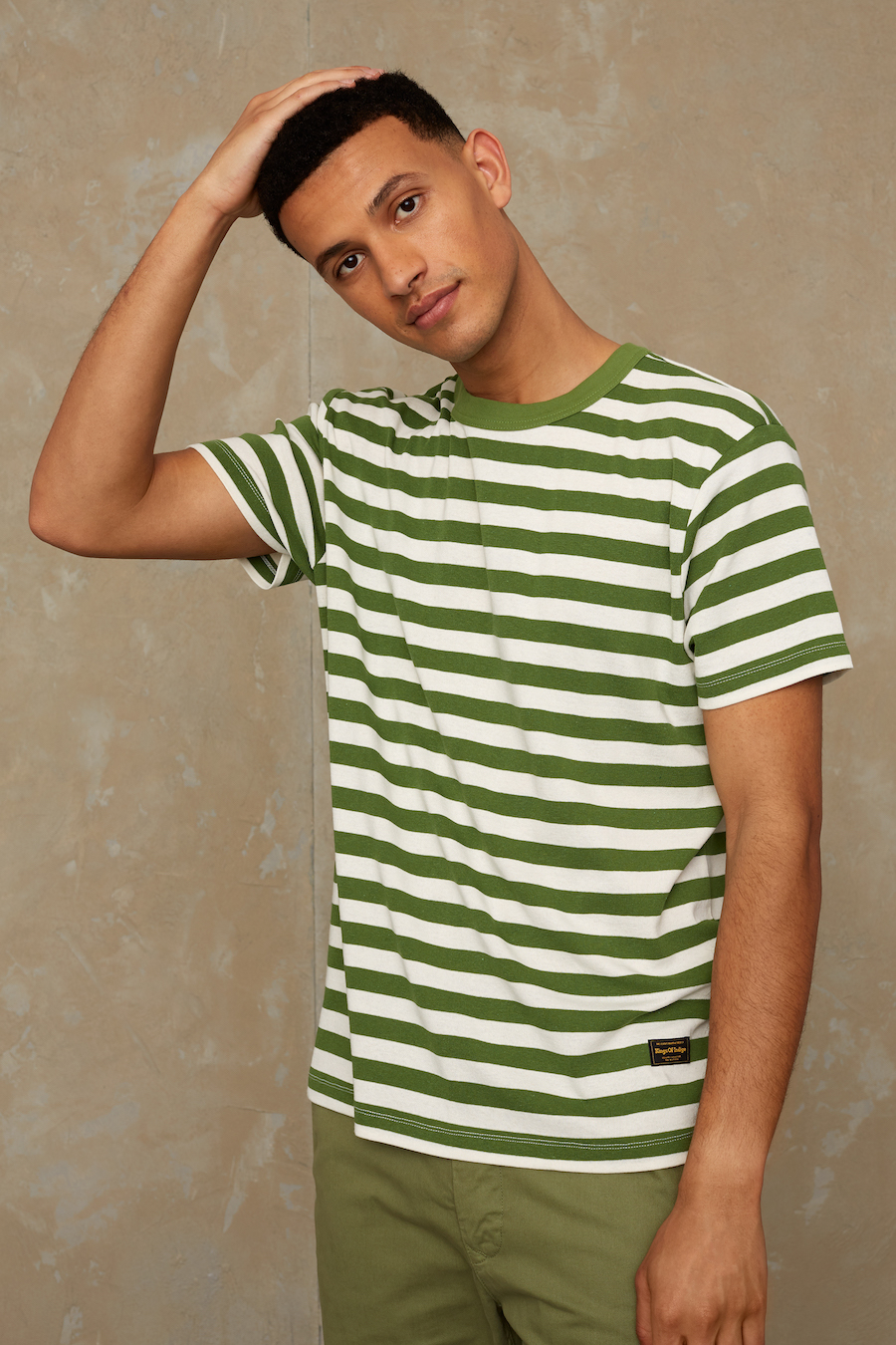 Kings of Indigo - Darius Tee, Green Stripe