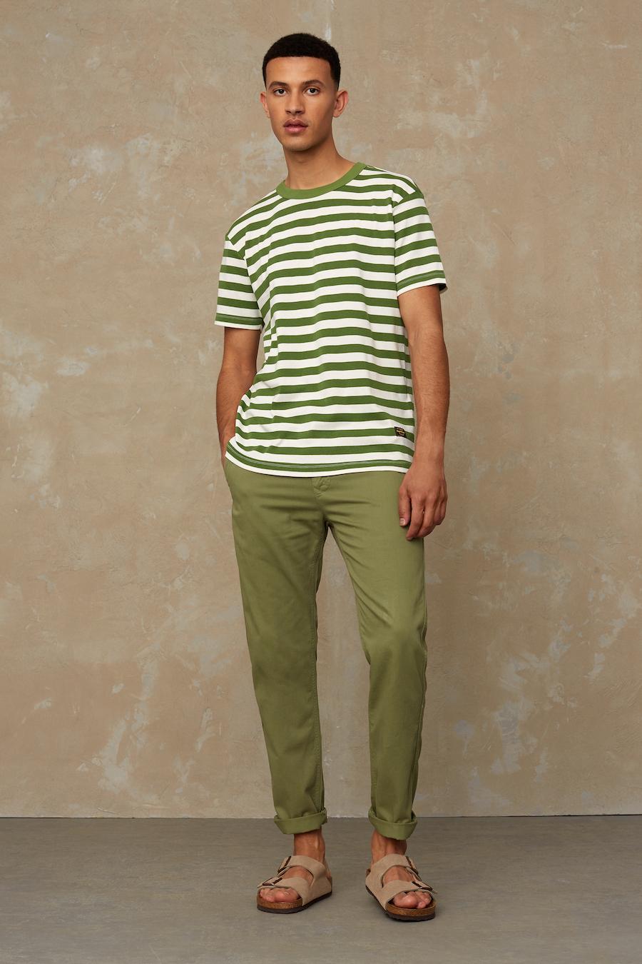 Kings of Indigo - Darius Tee, Green Stripe