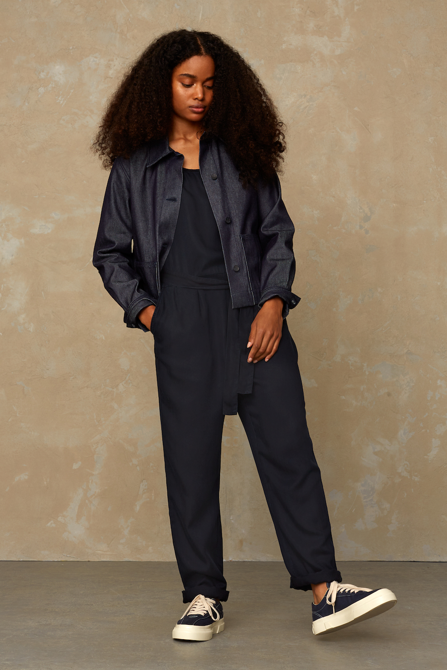 Kings of Indigo - Louise Jumpsuit, Blue Black Tencel