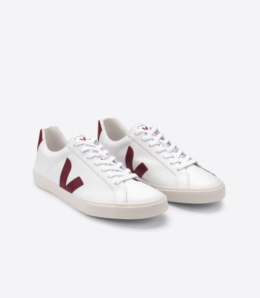 Veja - Esplar Leather Sneaker, White Marsala