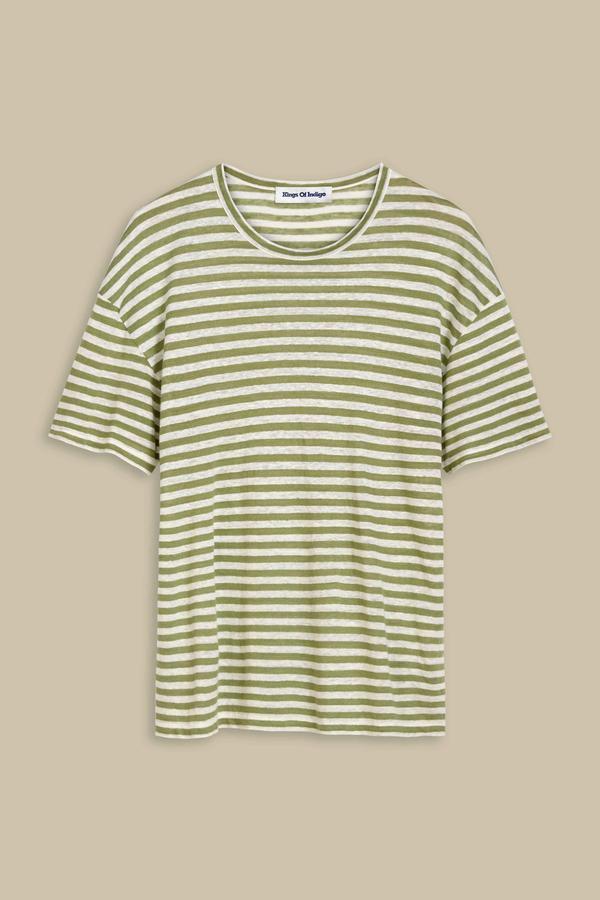Kings of Indigo - Majaji Linen T-Shirt, Loden Stripe Green