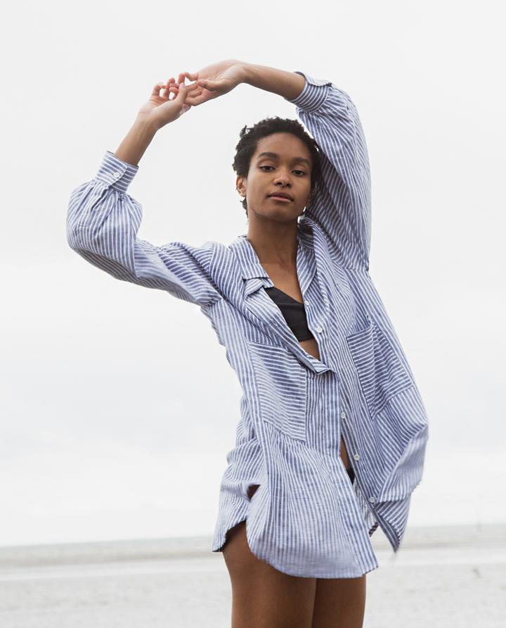 Beaumont Organic - Jacqueline Linen Shirt, Navy Stripe