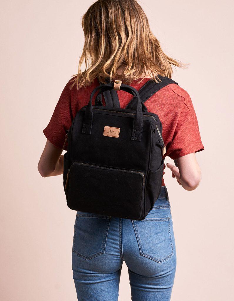 O My Bag - Billie's Backpack, Black/Camel Canvas