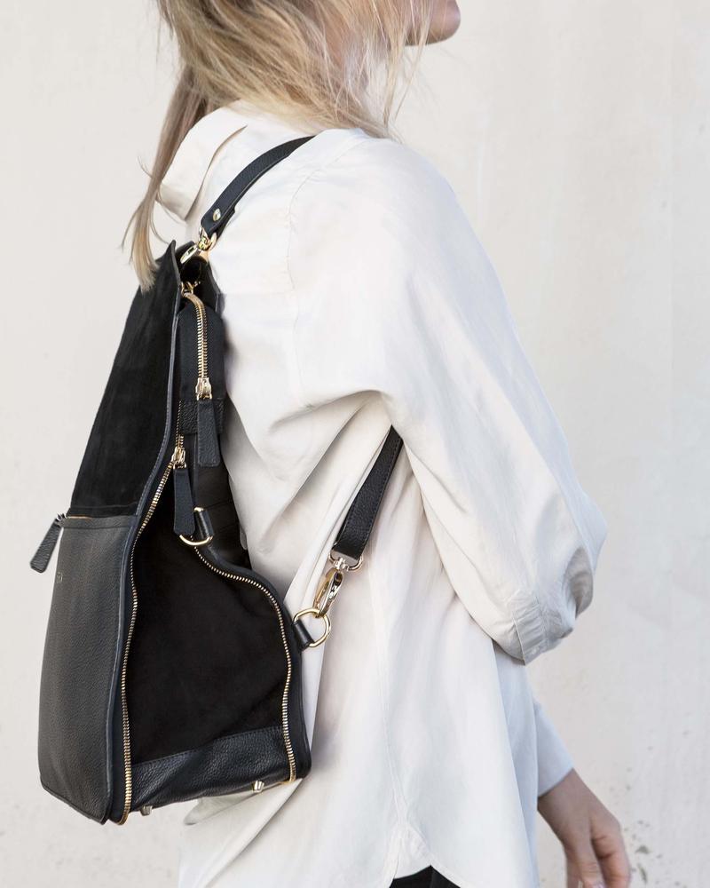Bukvy - Bo Bardi 5-i-1 väska, svart läder