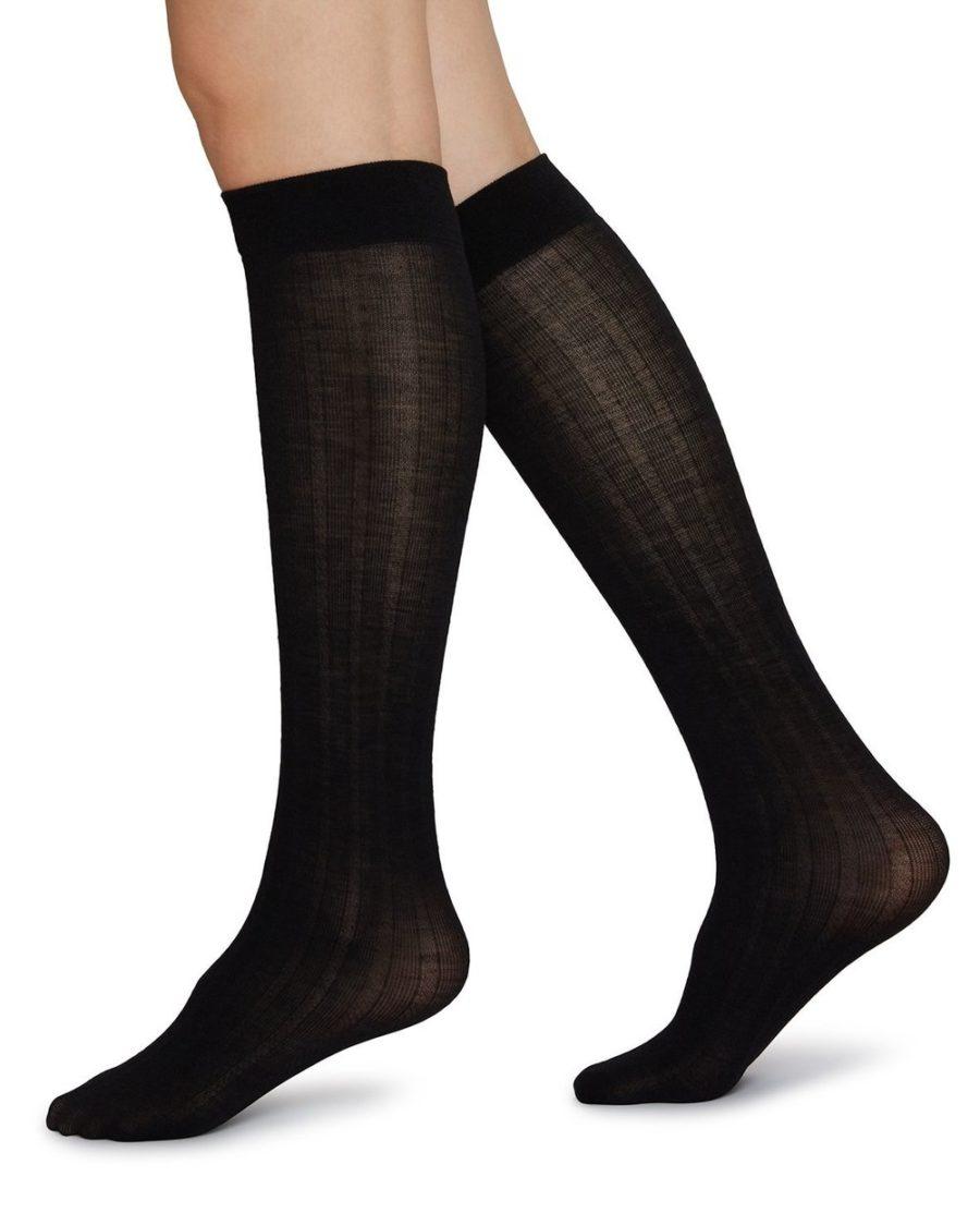 Swedish Stockings - Freja Organic Wool Knee-Highs, Black