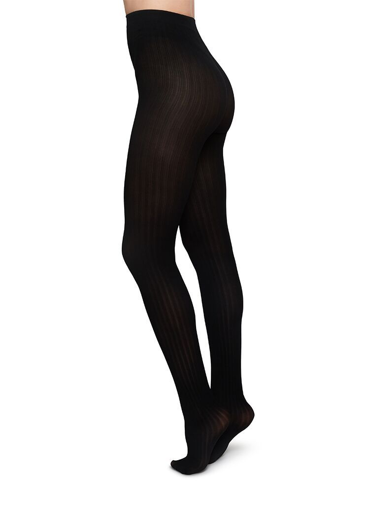 Swedish Stockings - Alma Rib Tights, Black