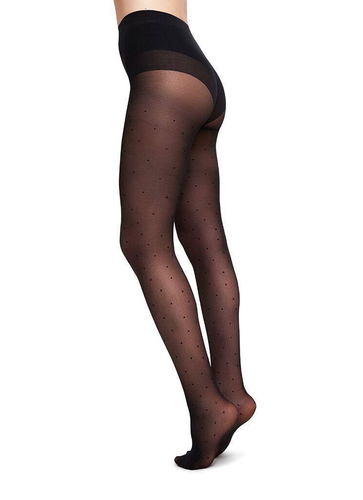 Swedish Stockings - Doris Dots Tights, Black