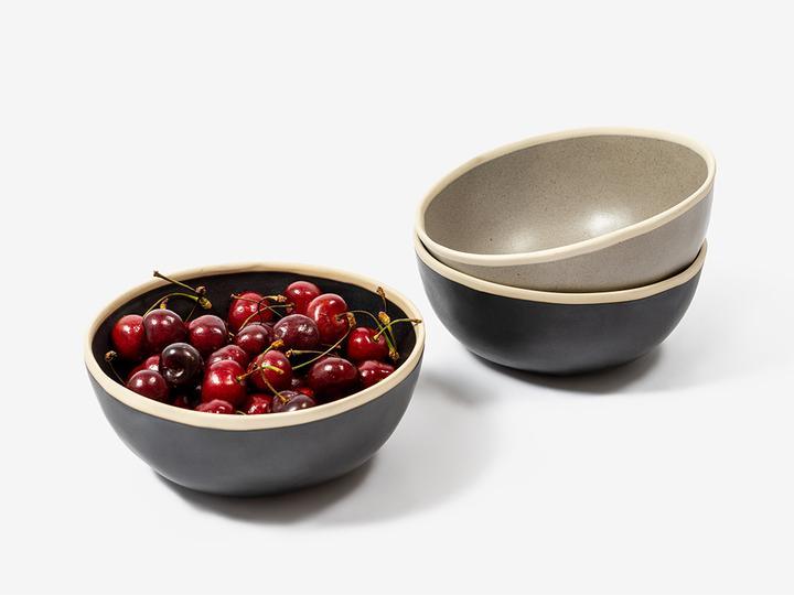Folkdays - Black Ceramic Bowl With White Rim, Big