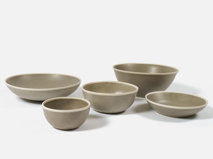 Folkdays - Grey Ceramic Bowl With White Rim, Big