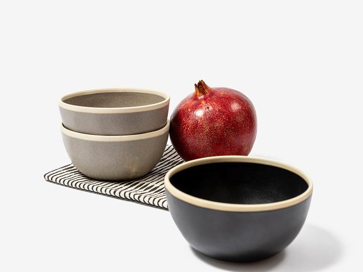 Folkdays - Black Ceramic Bowl With White Rim, Small