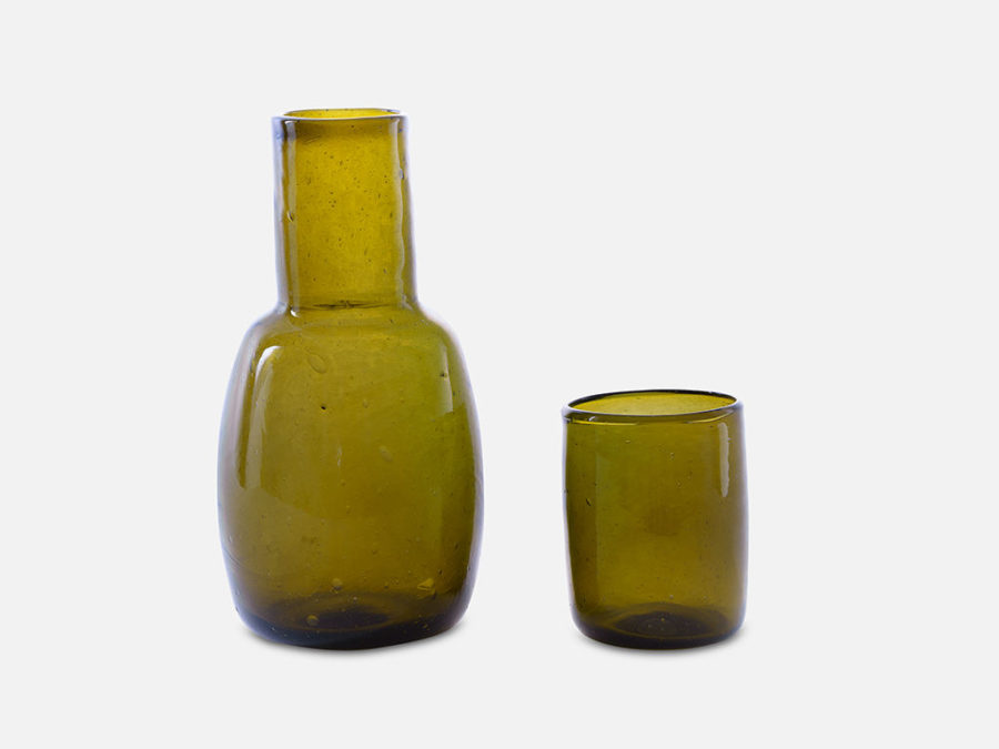 Folkdays - Classic Carafe with Drinking Glass, Olive Green